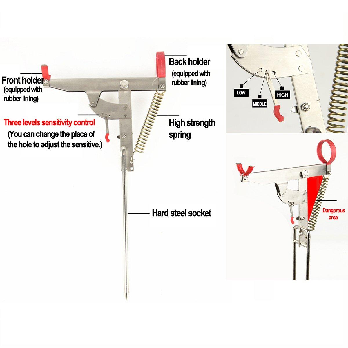 plegable regulador y soporte de acero inoxidable 2x Pack Soporte para ca/ña de pescar con el mejor resorte sensible de alta resistencia gancho puntas verticales 2 unidades