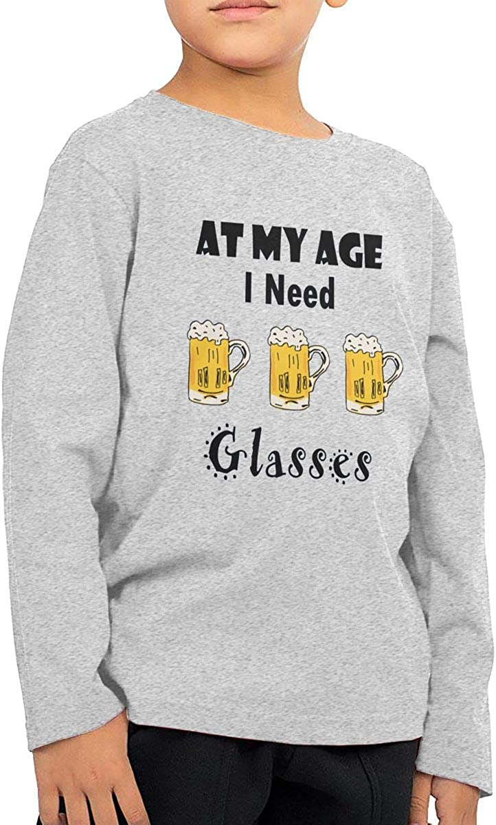 at My Age I Need Glasses Beer Childrens Long Sleeve T-Shirt Boys Cotton Tee Tops