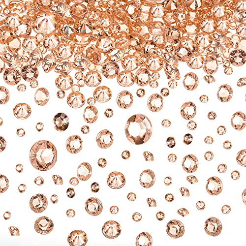 10000 Clear Wedding Table Scatter Confetti Crystals Acrylic Diamonds Rhinestones for Table Centerpiece Decorations Wedding Decorations Bridal Shower Decorations Vase Beads (Rose Gold, 3/6/ 10 mm)
