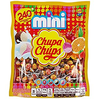 Chupa Chups Mini Lollipops, Halloween Treat, 240 Bulk Candy Suckers for Kids, Cremosa Ice Cream, 7 Assorted Creamy Flavors, Variety Pack for Gifting, Parties, Office, 240 Count