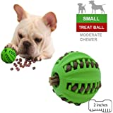 EETOYS Dog Treat Ball Small 2 Inches Interactive Treat Dispensing Dog Toy Non Toxic Rubber Dog Ball Food Dispensing IQ Dog Toy Reduce Boredom Dental Hygiene Teething For Puppy Small Dog (Small, Green)