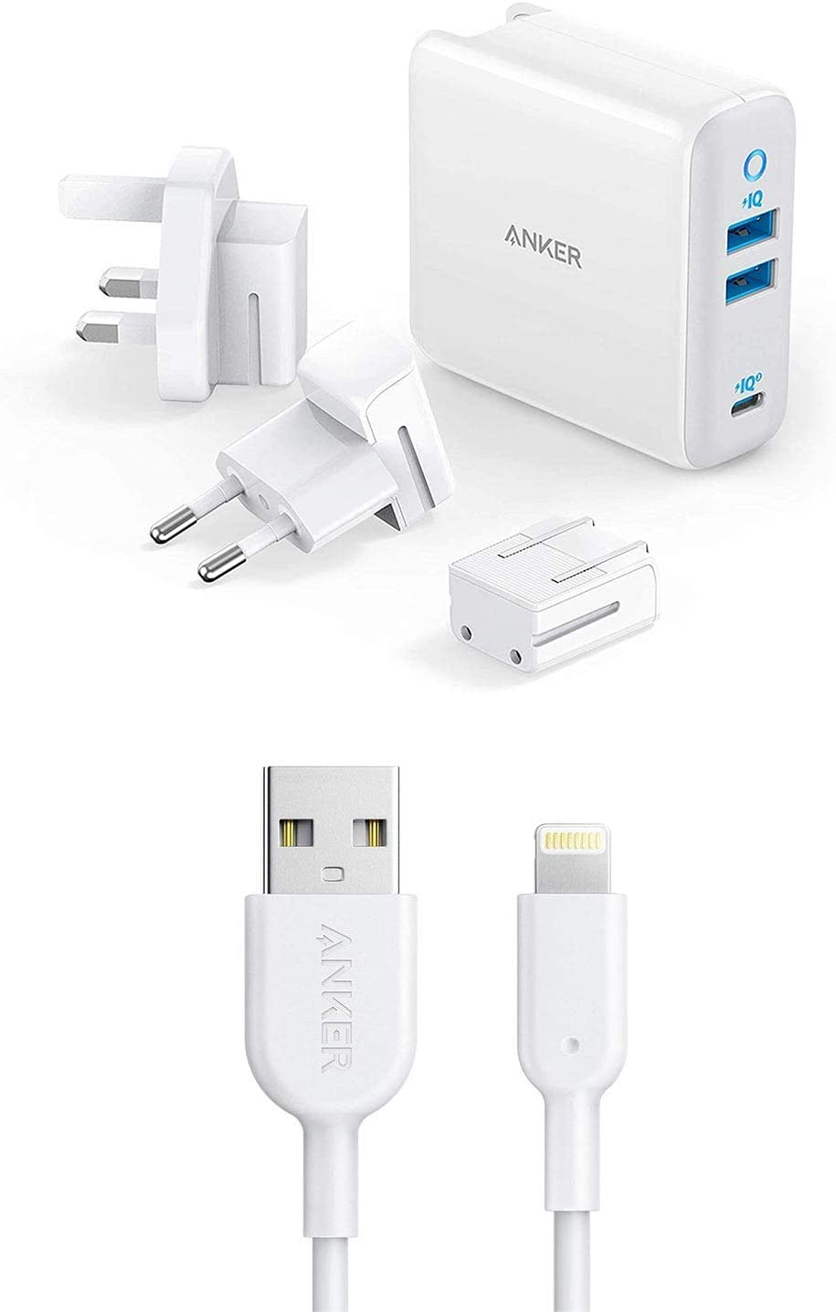 Anker 65W PIQ 3.0&GaN 3-Port Type-C Charger PowerPort III with Anker Powerline II Lightning Cable, [3ft Apple MFi Certified]
