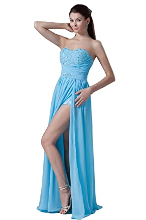 DYS Womens Chiffon Beaded Prom Dresses Long Evening Dress Side Slit Light Blue