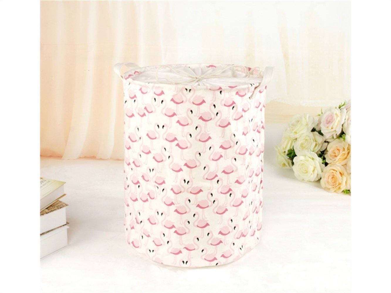 Gelaiken Lightweight Flamingo Pattern Storage Bucket Cotton and Linen Bucket Cloth Storage Bucket Sundries Storage Bucket Laundry Basket(Pink)