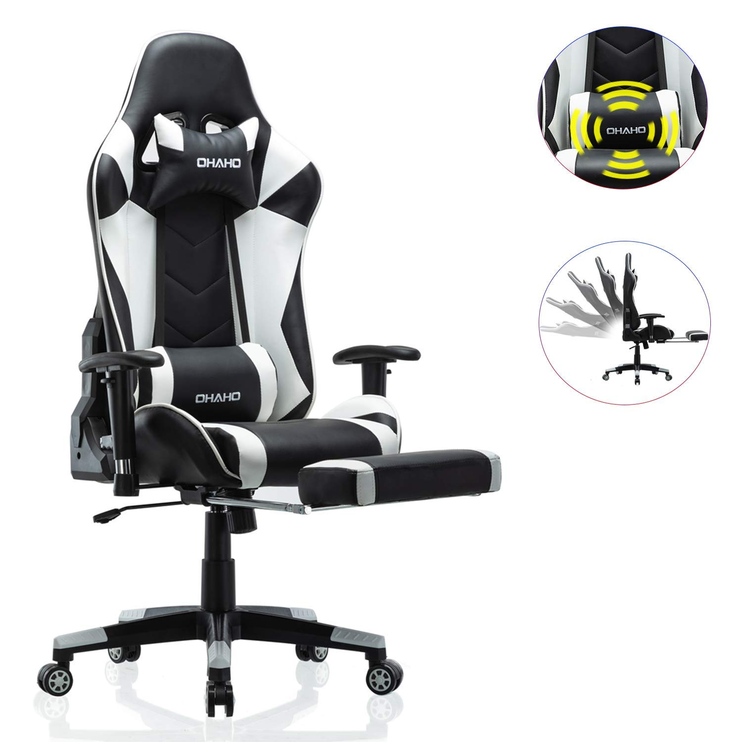 OHAHO Gaming Chair Racing Style Office Chair Adjustable Massage Lumbar Cushion Swivel Rocker Recliner Leather High Back Ergonomic Computer Desk Chair with Retractable Arms and Footrest (Black/White) by OHAHO
