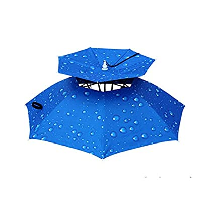 b03adf44ce977 Image Unavailable. Image not available for. Color  CHRISTYZHANG Double  Layer Folding Compact UV Wind Protection Umbrella Hat Folding Wind Proof ...