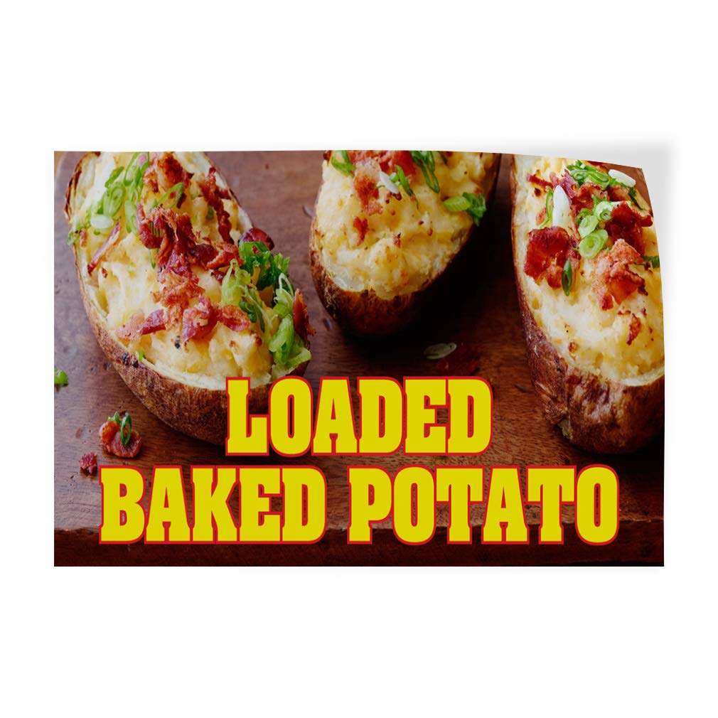 52inx34in, Decal Sticker Multiple Sizes Loaded Baked Potato Restaurant Cafe Bar Style U Business Loaded Baked Potato Outdoor Store Sign Brown