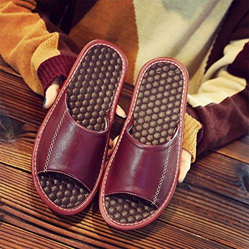 mute il 27 pantofole Fankou uomini antiscivolo un con 39~40 estate cool home donna coppia vino rosso legno nbsp;Pantofole soggiorno pavimento in wFqUaO
