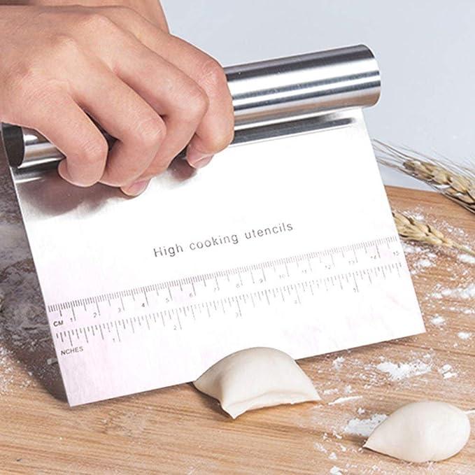 Pizza Dough Raschietto Cutter Cucina Farina Pasticceria Gelato Cake Tool Delaman/® Acciaio Inossidabile Smoother Edge Raschietto per Dolci
