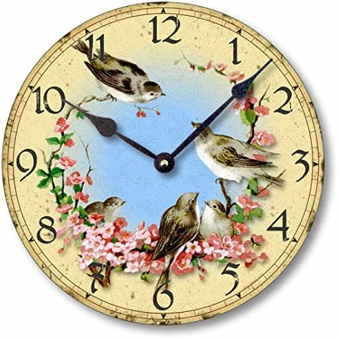 Fairy Freckles Studios Item C7001 Vintage Style 10.5 Inch Birds Cherry Blossoms Clock
