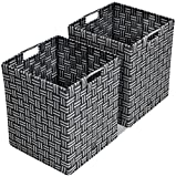 Sorbus Foldable Storage Cube Woven Basket Bin Set - Built-In Carry Handles - Great for Home Organization, Nursery, Playroom, Closet, Dorm, etc (Woven Basket Bin Cubes - 2 Pack, Gray Pattern)