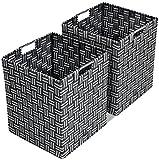 Sorbus Foldable Storage Cube Woven Basket Bin Set - Built-In Carry Handles - Great for Home Organization, Nursery, Playroom, Closet, Dorm, etc (Woven Basket Bin Cubes - 2 Pack, Gray Pattern)
