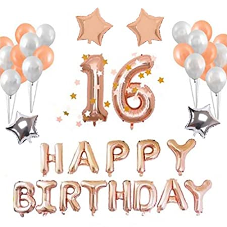 16th Happy Birthday Balloons Set Rose Gold Decorations Banner 12quot Balloon And 18