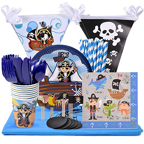 eZAKKA Pirate Birthday Party Supplies | Service for 8 Mateys | 133 Piece Party Pack Includes Plates, Cups, Napkins, Straws and Cutlery with Bonus Tablecloth and Jolly Roger Balloons for Halloween -