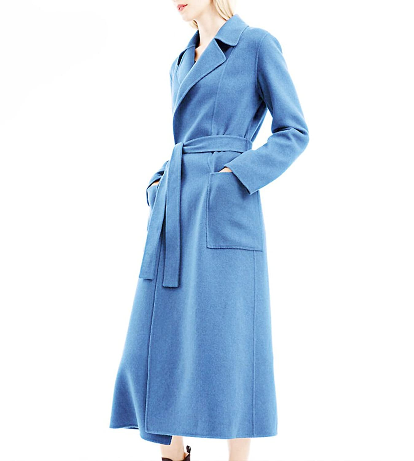 Hego Women's 2016 Winter Turn-down Collar Blue Long Wool Coat H2977
