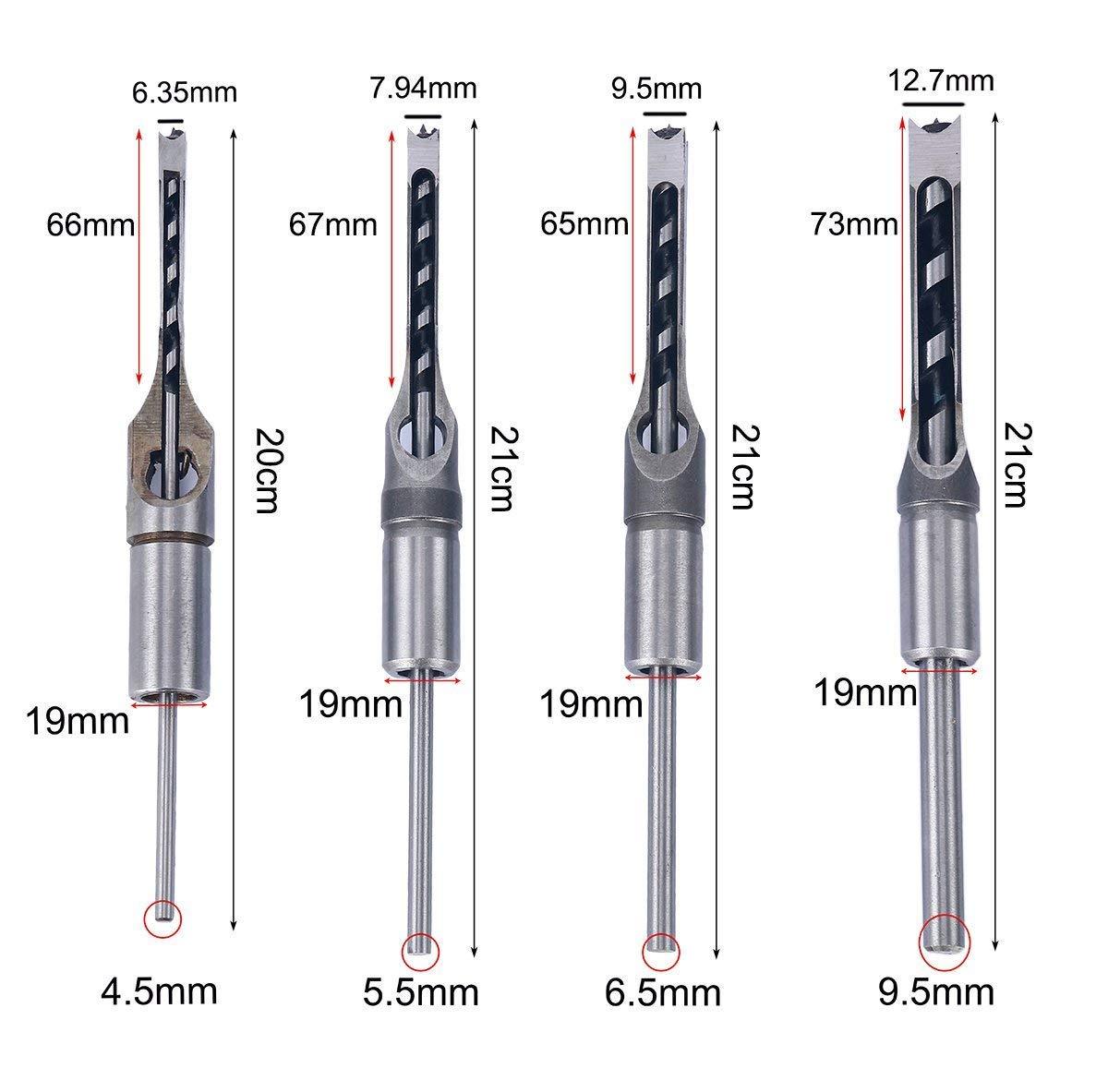 FreeTec 4 piezas Juego de herramientas de carpinter/ía agujero sierra broca form/ón Kit 6,35mm 12,7mm 7,94mm 9,5mm