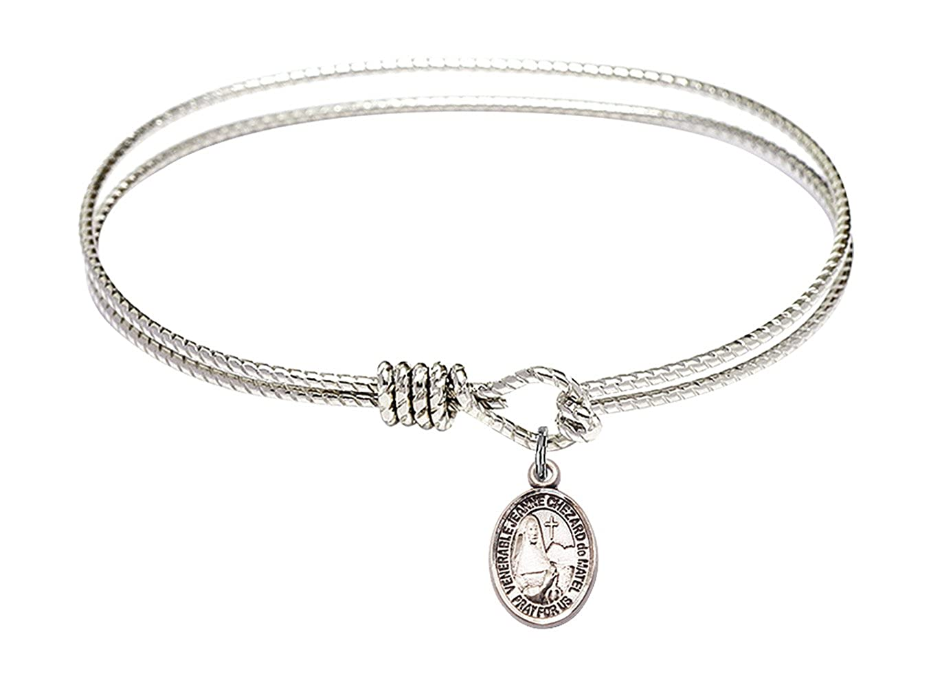 F A Dumont 7 1//4 inch Oval Eye Hook Bangle Bracelet with a St Jeanne Chezard de Matel Charm.