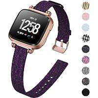 Kimilar Armband Compatibel met Fitbit Versa/Versa 2/Versa Lite/SE armband stof, parels vierkante gesp slanke reserveband horlogeband voor Fitbit Versa Special Edition Smartwatch