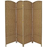 Oriental Furniture Better Great Durable Room Divider, 6-Feet Tall Diamond Weave Natural Fiber Folding Screen, Natural, 4 Panel Size