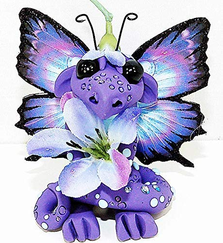 Ooak Polymer Clay Handmade Purple & Blue Flower Butterfly Dragon Sculpture Fantasy Home Decor Dragonflies Statue and Collectibles