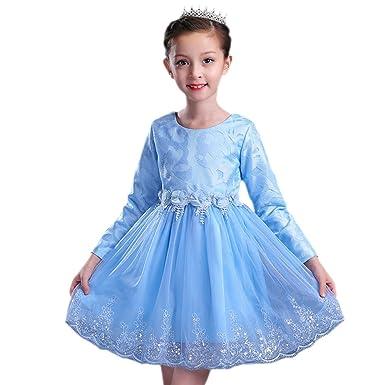 160f89f790347 BOZEVON Robe De Soirée Filles Fête Élégante pour Enfant Manches Longues  Dentelle Mariage Robe de Princesse