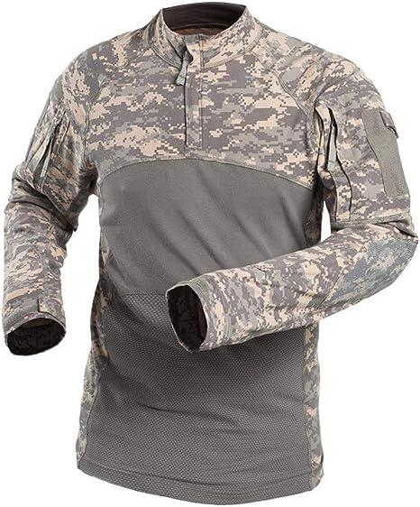 QWET Camisa de Manga Larga táctica Militar Slim fit para Hombre Camisas de Camuflaje Airsoft Camisa de Combate al Aire Libre: Amazon.es: Deportes y aire libre