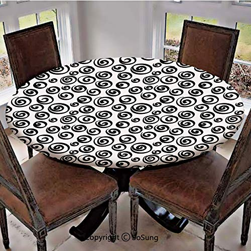 "Elastic Edged Polyester Fitted Table Cover,Minimalist Spiral Turning Circular Vortex Round Forms Artistic Modern Display,Fits up to 36"" Diameter Tables,The Ultimate Protection for Your Table,Black Whi"