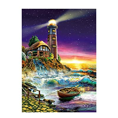 Bravetoshop Jigsaw Puzzles for Adults 100 Piece Puzzle for Adults Kids Gift,Lighthouse Landscape Jigsaw Puzzle Toy: Toys & Games