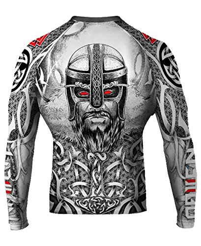Raven Fightwear Men's Norseman MMA BJJ Rash Guard White X-Large