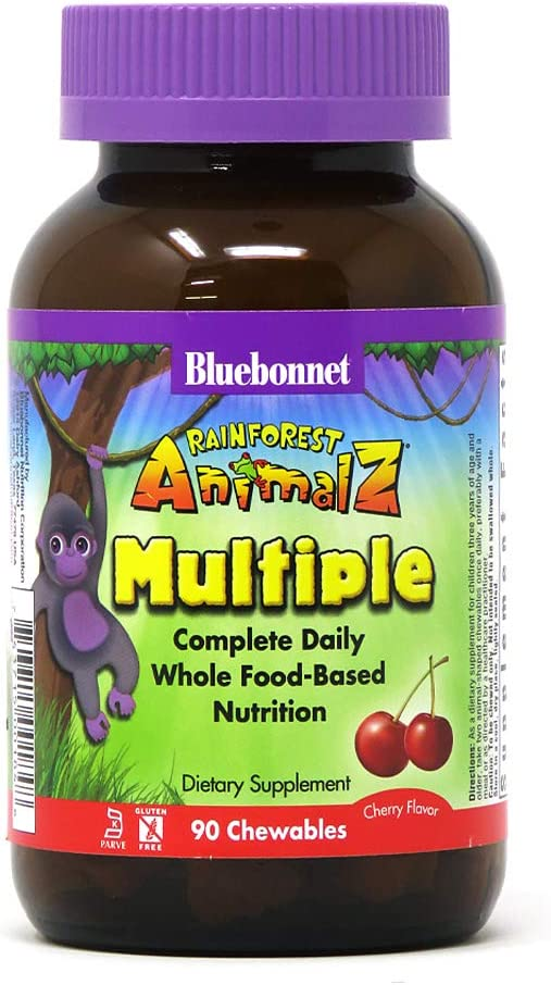 Bluebonnet Nutrition Rainforest Animalz Whole Food Based Multiple Chewable Tablets, Kids Multivitamin & Mineral, Vitamin C, D3, Iron, Gluten Free, Milk Free, Kosher, 90 Chewable Tablets, Cherry Flavor