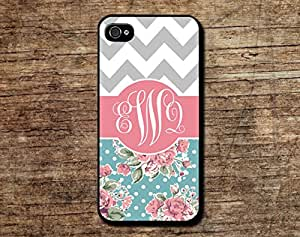 Fashion Design Chevron Phone Cover Initial Monogram Name Phone Case for Iphone 4 4s Iphone 5 5s 5c Floral Case Gift Idea