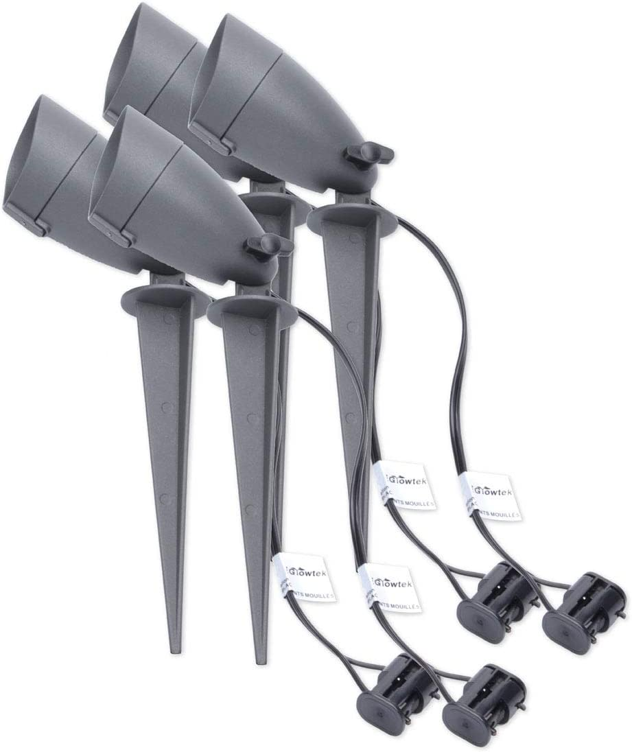 iGrowtek LED Spike Spot Light,Stake Light Outdoor,AC DC 12V Low Voltage,Waterproof IP65, Aluminum Body,5W,4 Packs
