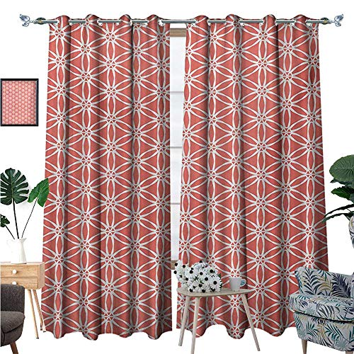 Elegant Bound Glass Lighting - Coral Patterned Drape for Glass Door Cool Simplistic Linear Sunflower Tied Bound Crochet Damask Floral Lace Tiles Motif Waterproof Window Curtain W108 x L96 Coral White