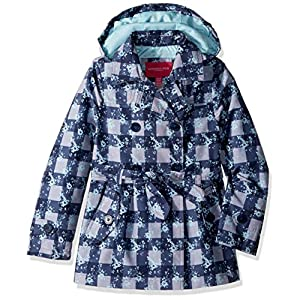 London Fog Big Girls' Double Breasted Belted Trench Coat, Blue Plaid, 10/12