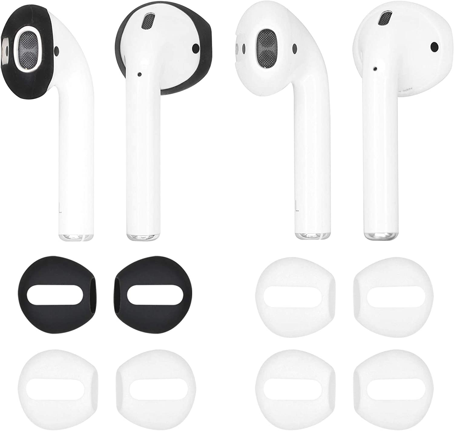 IiEXCEL (Fit in Case) 4 Pairs Replacement Super Thin Slim Rubber Silicone Earbuds Ear Tips and Covers Skin for Apple AirPods or EarPods Headphones (Fit in Charging Case) (1 Black 3 White)