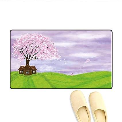 LIS HOME Doormat Single House de Blooming Spring Tree et ...