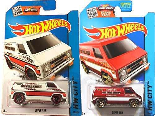 Fire Chief 2 Car Set Hot Wheels 2015 White & Red Versions Super Van #55 in PROTECTIVE CASES ()