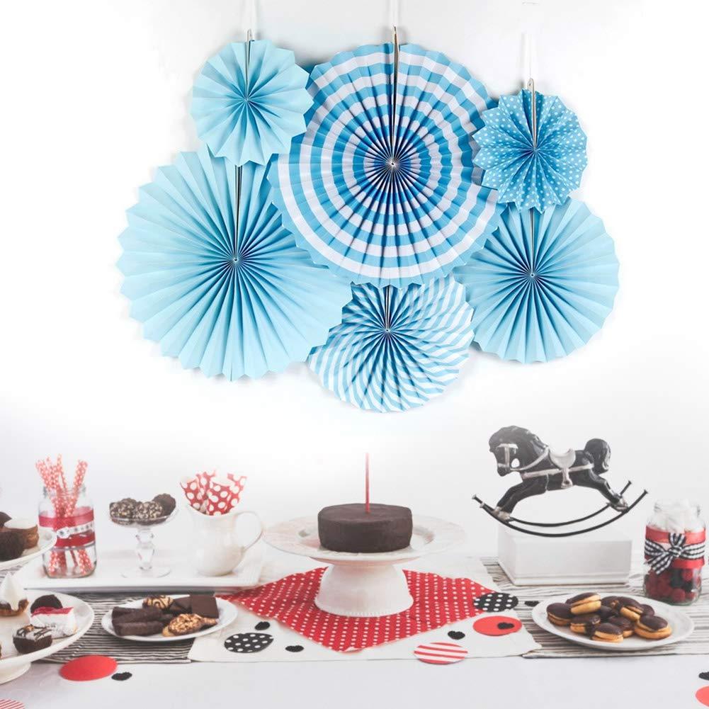Azul 6 Piezas de Ventiladores de Papel Colgantes decoraci/ón de Flores Abanico de Papel Colorido Accesorios para Eventos Interiores Manualidades de Papel para la Fiesta de Bodas de cumplea/ños