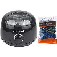 Vinteky Wax Warmer Hair Removal Waxing Kit with 300g Hard Wax Beans, Wax Melt Warmer Electric Waxing Heater for Rapid Waxing, Painlessly Remove Hair From Bikini Arm Legs (Black Wax Warmer+Chamomile Wax Beans)