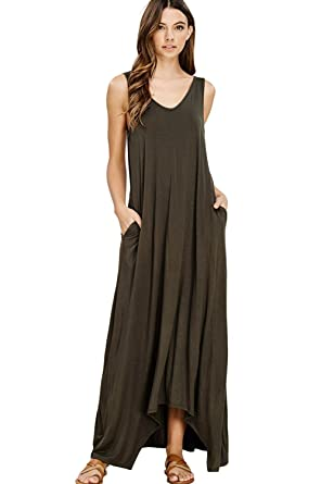 4a74deb41b843 NASKY Women s Ladies Sleeveless Dresses Pockets Casual T-Shirt Summer Maxi  Long Dress (