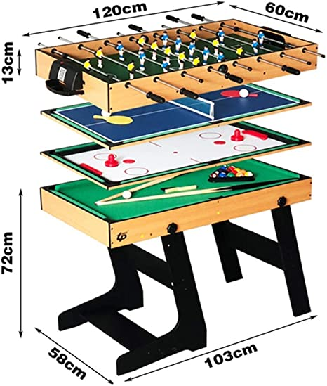 Deluxe 4 en 1 Mesa de Juego Superior Multifunción Combo de Mesa Estable (Ping Pong), Glide Hockey, Soccer Foosball, Pool Set para niños y niños [Clase energética A]: Amazon.es: Hogar