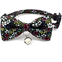 PetFavorites Breakaway Bowtie Cat Collar with Bell - Flower Kitten Bow Tie Kitty Puppy Clothes Accessories, Adjustable and Handmade.(Daisy, Size XS)