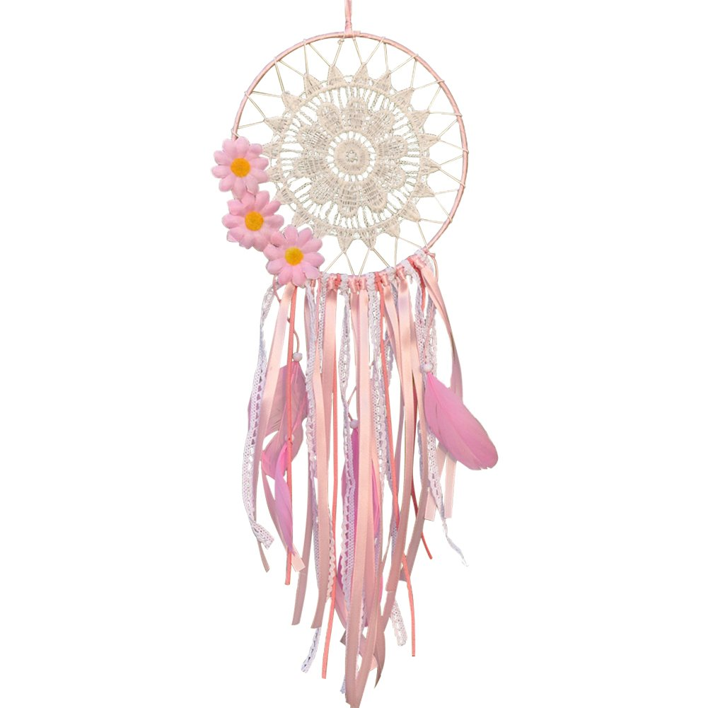 TINTON LIFE Dream Catcher Pink Handmade Hanging Dreamcatcher with Lace for Kids Bedroom Decor Ornament Diameter 6inch