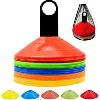 ANSLYQA Disc Cones (Set of 50) Agility Training Soccer Cones with Carry Bag and Holder for Football Basketball Sports…