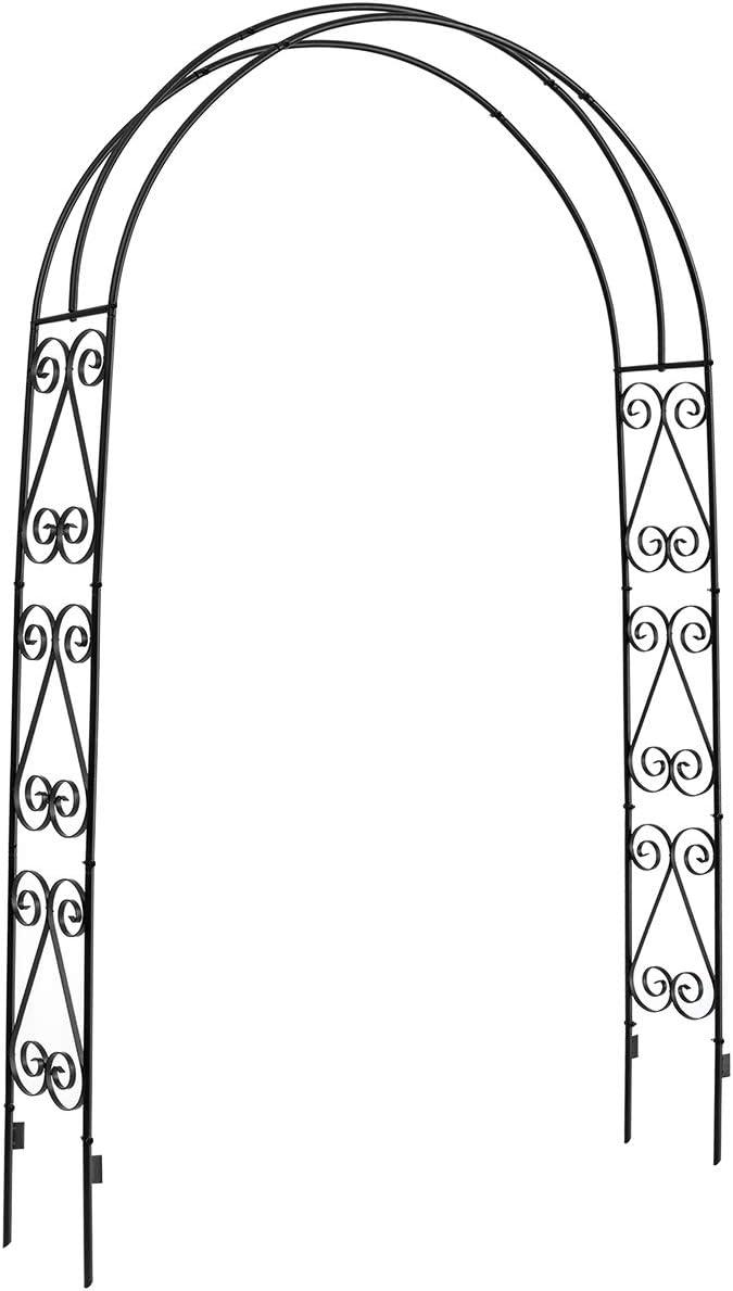 DOEWORKS Garden Arch,Garden Arbor for Various Climbing Plant, Outdoor Garden Lawn Backyard, 3 11 Wide x 7 High, Black