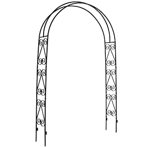DOEWORKS Garden Arch,Garden Arbor for Various Climbing Plant, Outdoor Garden Lawn Backyard, 3' 11''Wide x 7' High, Black
