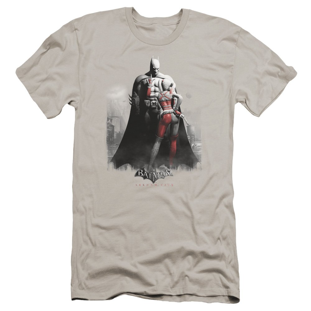 Arkham City Harley And Bats Premium Adult Slim Fit T-Shirt