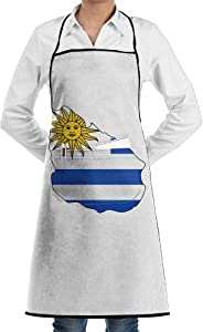 Sun Of Uruguay Flag Map Apron Lace Adult Mens Womens Chef Adjustable Polyester Long Full Black Cooking Kitchen Aprons Bib With Pockets For Restaurant Baking Crafting Gardening BBQ Grill