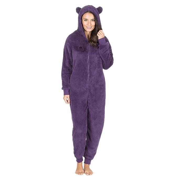 Onezee Adult Womens Plain Snuggle Fleece Jumpsuit - Zip Up Hooded Sleepsuit at Amazon Womens Clothing store:
