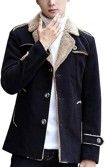 Men/'s Retro Peacoat Fur Lined Casual Coats Fleece Jackets Wool Overcoat Winter